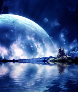 Photoshopped world with big moon