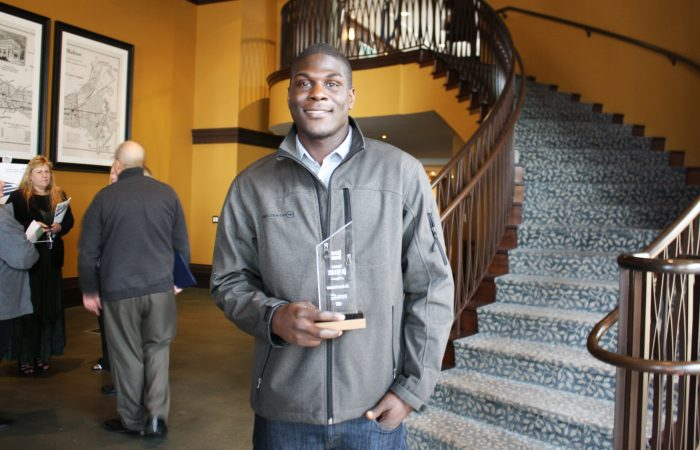 Ari Williams with his Aspire Award.