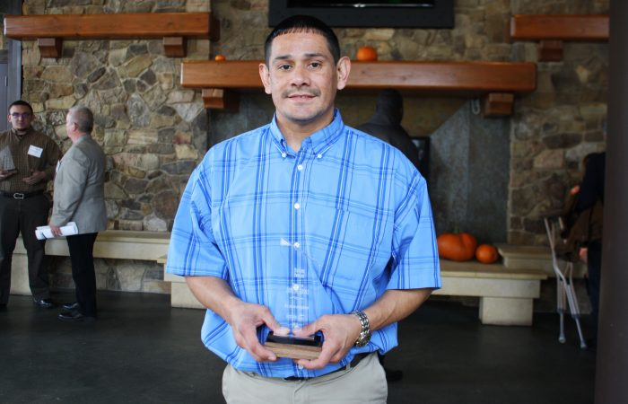 Aurelio Rosas with his Aspire Award.