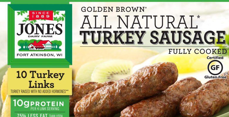 Jones Dairy Farm's All Natural Turkey Sausage packaging
