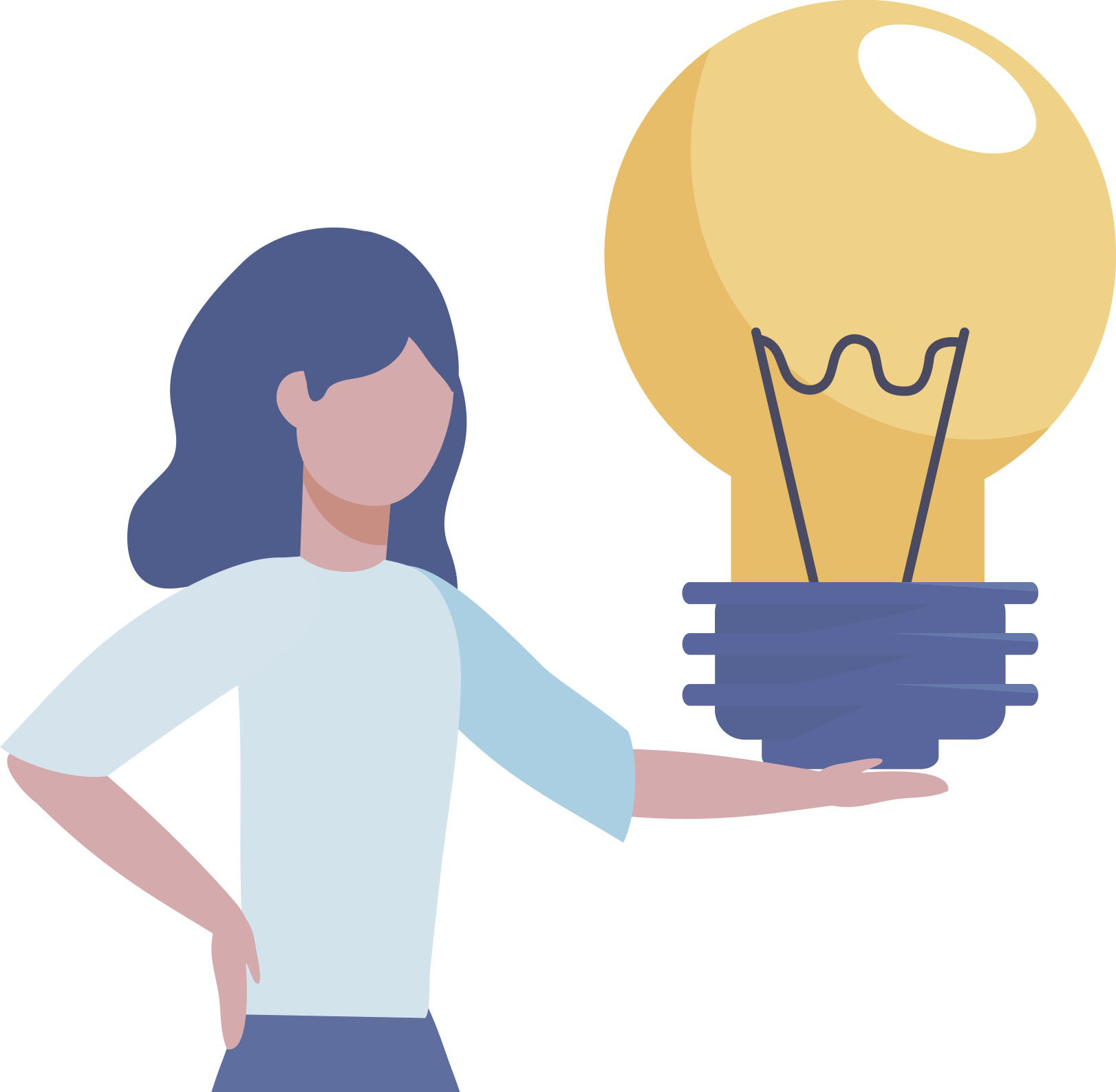 Drawn women holding lightbulb