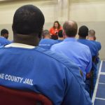 The inmates at the Dane County Jail celebrate their graduation from the Windows to Work program.