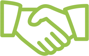 Green handshake icon