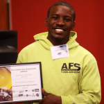 Foundation for the Trades Academy graduation with his certification of completion