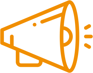Orange megaphone icon