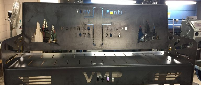 This is the bench Vince created in honor of his father.