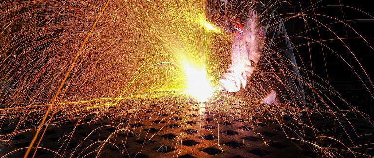 Sparks from welding
