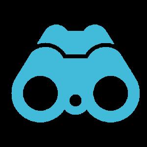 Blue binoculars icon